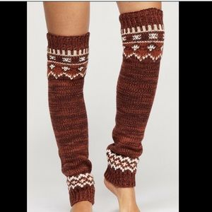 Free People rust brown white Thick Legwarmers